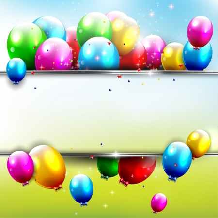 birthday party: Birthday background with flying balloons and copyspace   Illustration