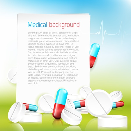 Medical background with spilled pils, tablets and with copyspace Stock Vector - 21910743