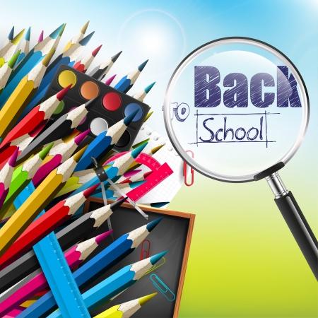 zpátky do školy: Zpátky do školy - vektorové pozadí Ilustrace