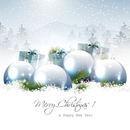 Christmas baubles and gifts in winter landscape