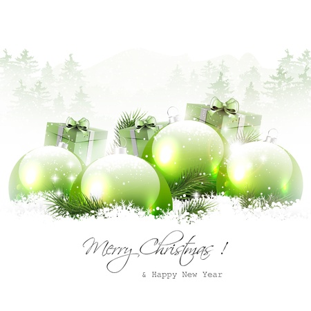 Christmas baubles and gifts in winter landscape   Vector