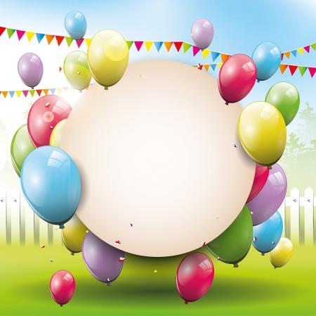 party balloons: Sweet birthday background with place for text   Illustration