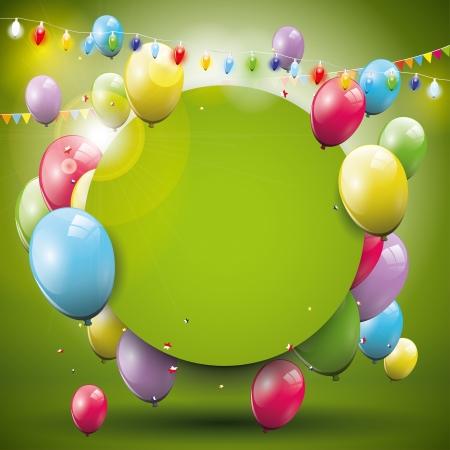 felicit�: Dolce sfondo di compleanno con palloncini volanti e luogo per il testo Vettoriali