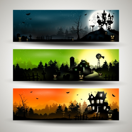Set of three Halloween banners   Çizim