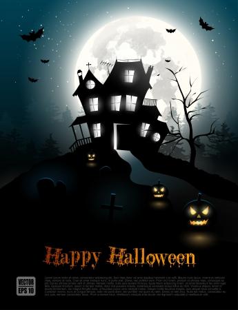 празднование: Хэллоуин плакат с страшный дом в лесу Иллюстрация