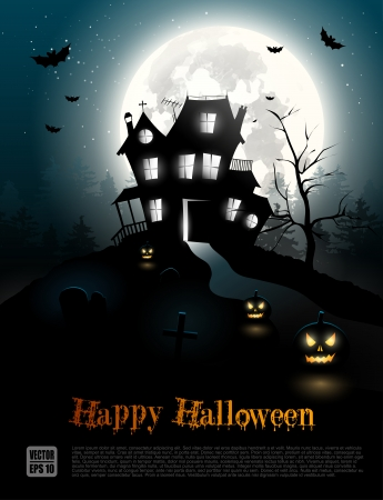 halloween party: Halloween poster with scary house in the woods