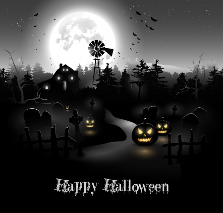halloween party: Scary nacht in het bos - Halloween achtergrond