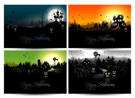 Set of four Halloween backgrounds   Vector