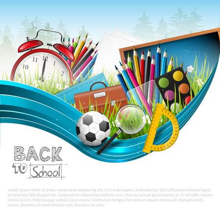 educacion: Volver a la escuela - vector de fondo con copyspace