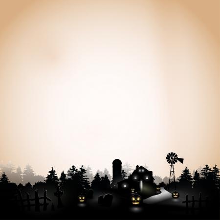 halloween poster: Haunted casa colonica tra i boschi - Sfondo con copyspace
