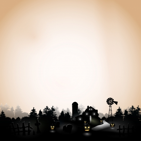 halloween party: Haunted farmhouse in the woods - Background with copyspace   Illustration