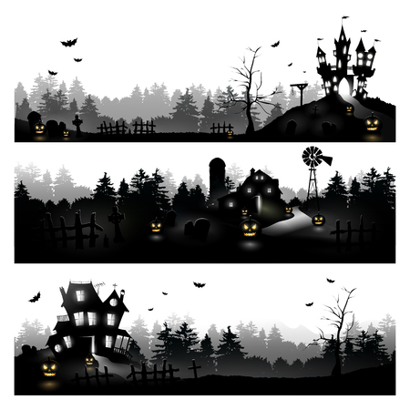 Set of three Halloween silhouettes on white background Stock Vector - 22305708