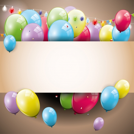 party balloons: Sweet brown birthday background with place for text