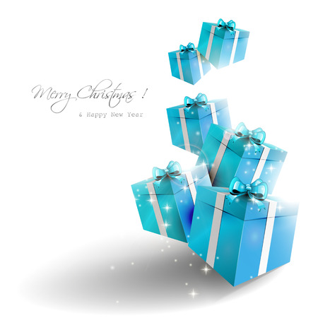 Blue gift boxes on white background - Christmas greeting card