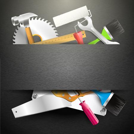 worktool: Hand tools on black background - Modern carpentry background