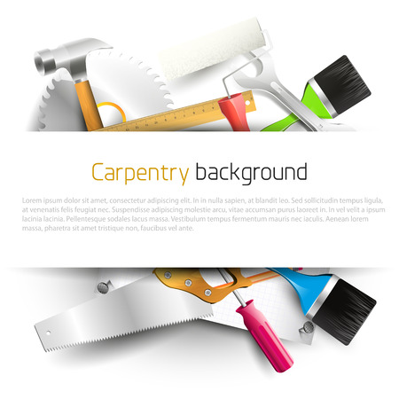 the hand tools: Hand tools on white background - Modern carpentry background