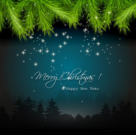 Christmas flyer with tree leaves on dark background Vector