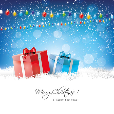 Christmas greeting card with gift boxes in snow Stock Vector - 22561665