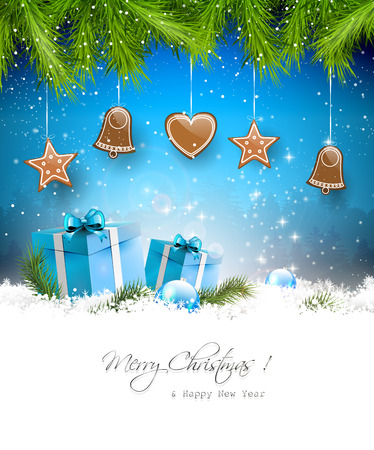 Christmas background with gingerbreads, gift boxes and with copyspace Stock Vector - 22561666