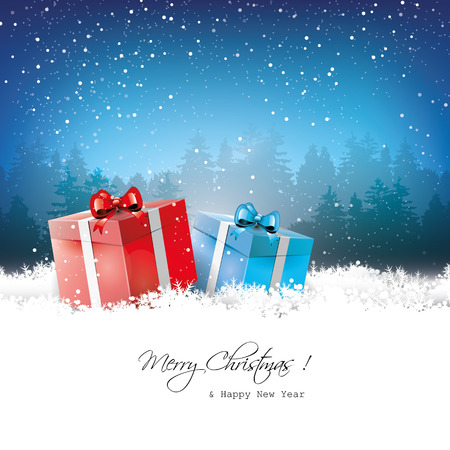 sylvester: Christmas greeting card with gift boxes in snow Illustration