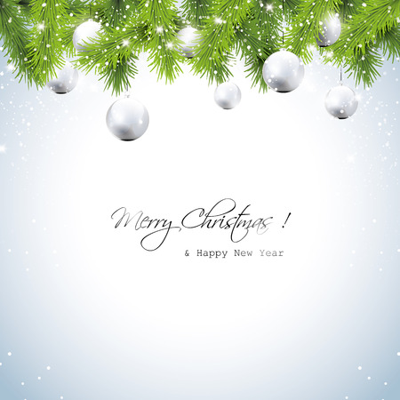 silver christmas: Christmas greeting card with wreath and silver balls