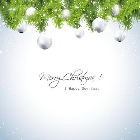 Kerst wenskaart met krans en zilveren ballen