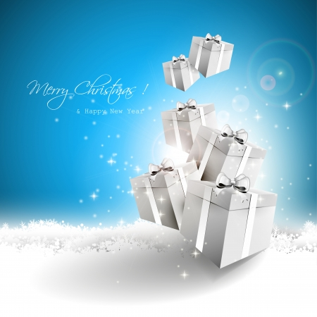 gift boxes: Silver gift boxes in the snow - Christmas greeting card Illustration