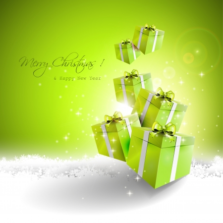 Green gift boxes in the snow - Christmas greeting card Stock Vector - 22561671