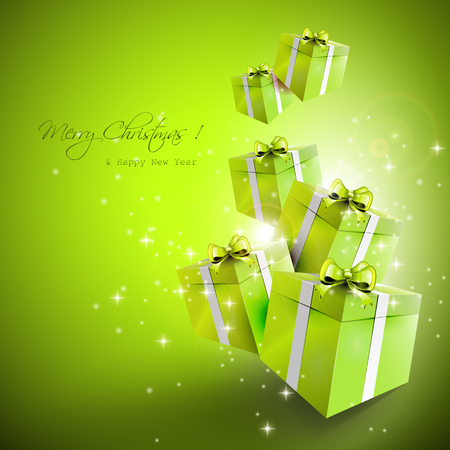 Flying green gift boxes - Christmas greeting card Stock Vector - 22561672
