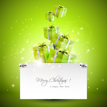 Flying gift boxes and paper with place for text - Christmas background Illustration