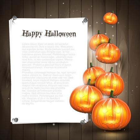 Halloween achtergrond met pompoenen en plaats voor tekst Stock Illustratie