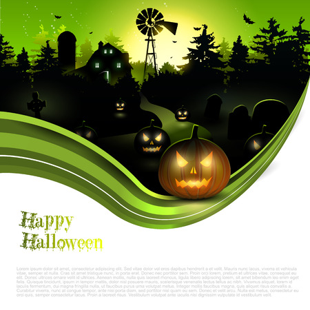 Scary farmhouse in the woods - Halloween poster with copyspace Illustration