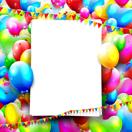 pink balloons: Birthday background with colorful balloons and empty paper Illustration