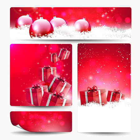 Set of four Christmas banners with gift boxes and baubles Vector