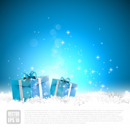 Blue Christmas greeting card with gift boxes in the snow Illustration