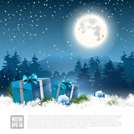 christmas decorations with white background: Christmas night - background with gift boxes and baubles in the snow - vector background