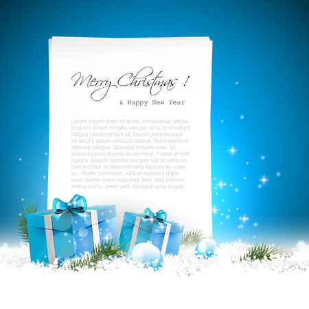 sylvester: Blue Christmas greeting card with gift boxes, baubles in the snow and empty paper