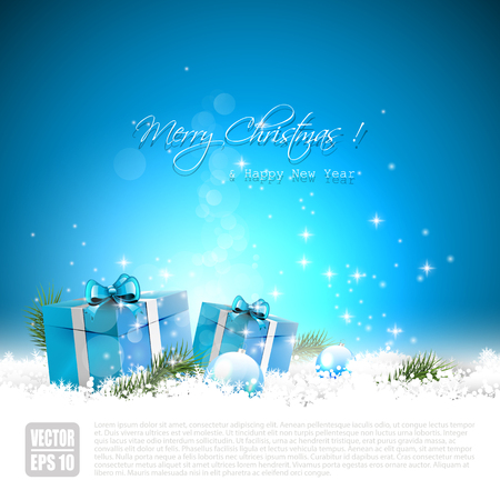 Blue Christmas greeting card with gift boxes and baubles in the snow Stock Vector - 22561692