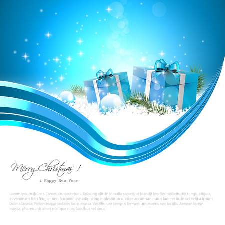 Modern blue Christmas background with gift boxes, baubles and place for text Stock Vector - 22561694