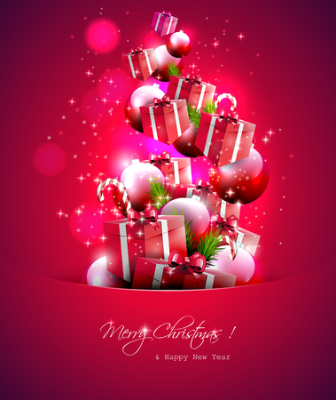 Gift boxes and baubles flying out of the pocket - Christmas background Stock Vector - 22561693
