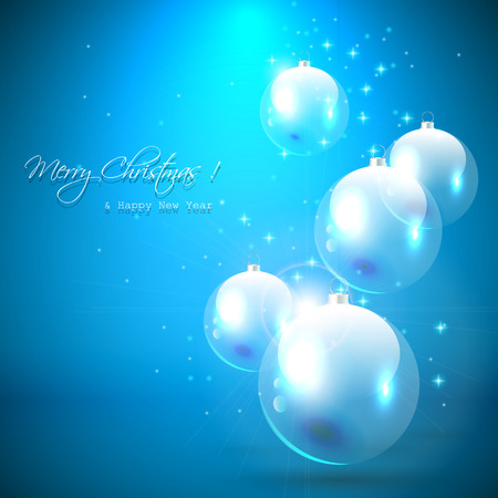 Christmas greeting card with transparent baubles on the blue background