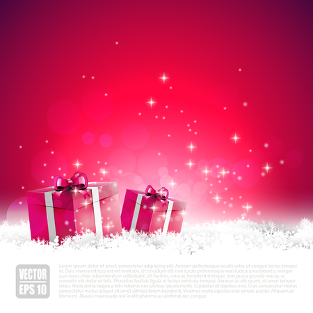 Red Christmas greeting card with gift boxes in the snow