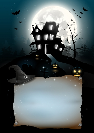 creepy: Scary house in the woods - Halloween poster with copyspace