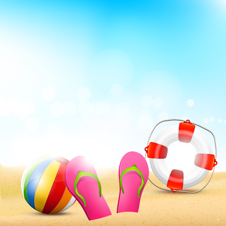 Summer background with flip-flops, safety-circle and beachball on the beach