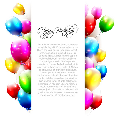 a card: Birthday balloons on white background with place for text Illustration
