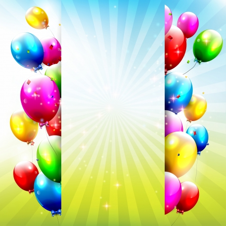 kids birthday party: Birthday background with colorful balloons and place for text Illustration