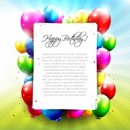 Colorful balloons with empty paper - Birthday background