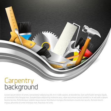 outils construction: Les outils � main sur fond sombre et le lieu de votre texte - Menuiserie de fond Illustration