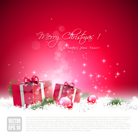 Red Christmas greeting card with gift boxes and baubles in the snow Illustration