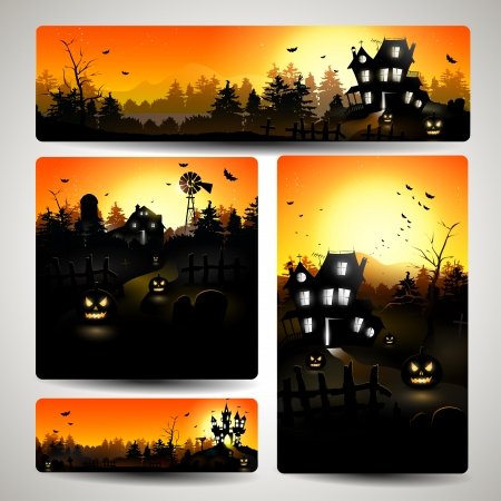 spooky: Set of four Halloween banners - vector illustration